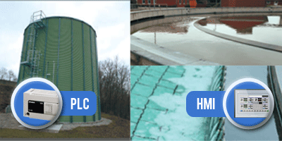 PLC control and HMI in water treatment facility